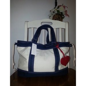 Handbags - Canvas Heart Charm Handbag